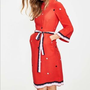 Boden Armelle Red Pop Spot Dress NWT 8L